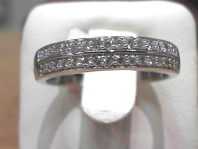 Fashion Ring - 14 Karat White Gold Fashion Ring with 0.32 Carats Total Weight of Round G Si1 Quality Diamonds. Ring Size 6.75