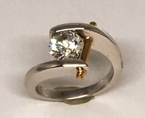 Engagement/Anniversary Ring - Two-Tone 18 Karat White Gold Palladium and 24 Karat Yellow Gold Ring with a 7.5 millimeter Round Cubic Zirconia. Ring Size 7