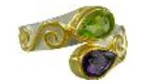 Fashion Ring - Lady's Two-Tone Sterling Silver and 22 Karat Vermeil Fashion Ring Size 7 With One Marquise African Amethyst And One Marquise Peridot Can be special ordered or re-sized per request.  Please contact for details. Local Tahoe Artist from Homewood!