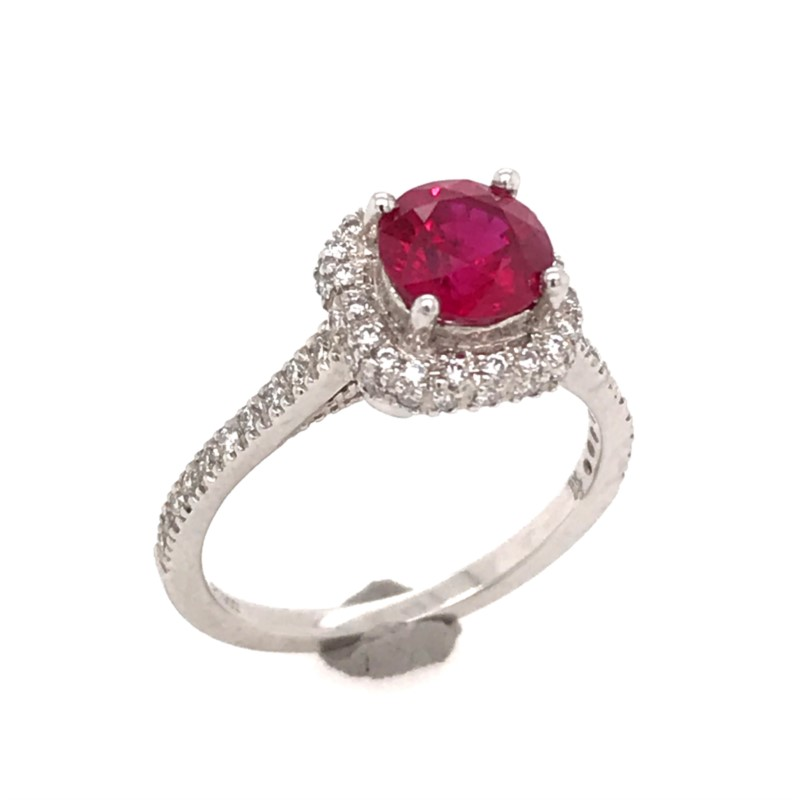 Fashion Ring - Platinum Engraved Engagement Ring with a 1.53 Carat AAA Quality Round Ruby & 0.38 Carats Total Weight of Round G VS Quality Diamonds. Ring Size 6.75.    This natural Ruby is to the highest of quality of color, clarity & beauty!!! Available to purchase separately or together. Heat treated natural ruby. Rubies that have a report that confirms there is no evidence of heat from an independent laboratory like GIA command a premium due to their rarity.