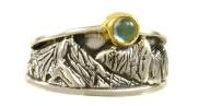 Fashion Ring - Two-Tone Sterling Silver and 22 Karat Yellow Gold Vermeil Ring With One Round Blue Topaz Ring Size 8 Can be special ordered or re-sized per request.  Please contact for details. Local Tahoe Artist from Homewood!