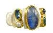 Fashion Ring - Lady's Two-Tone Sterling Silver & 22 Karat Yellow Gold Vermeil Fashion Ring Size 8 With One Oval Blue Rainbow Moonstone, 2= Oval Blue Topaz, One Freshwater Pearl and One Round Iolite Can be special ordered or re-sized per request.  Please contact for details. Local Tahoe Designer from Homewood!