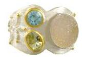 Fashion Ring - Lady's Two Tone Sterling Silver and 22 Karat Yellow Gold Vermeil Fashion Ring with 1= Round Aurora Druzy, 1= Oval Green Amethyst and 1= Round Blue Topaz Size 9 Can be special ordered or re-sized per request.  Please contact for details. Local Tahoe Artist from Homewood!