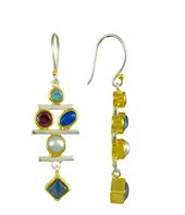 Earrings - Sterling Silver and 22K Gold Vermeil Earring with Baby Blue Topaz, Rhodolite Garnet, Blue Agate, Blue Rainbow Moonstone and White Freshwater Pearl Local Designer from Homewood, California in Lake Tahoe