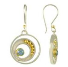 Earrings - Lady's Two-Tone Sterling Silver and 22 Karat Yellow Gold Vermeil Earrings with 2 Round Blue Topaz Local Tahoe Designer from Homewood!