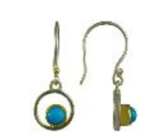 Earrings - Lady's Two-Tone Sterling Silver & 22 Karat Yellow Gold Vermeil Drop Earrings With 2= Round Turquoises Local Tahoe Artist from Homewood!