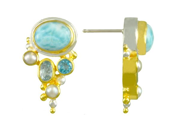 Earrings - Lady's Sterling Silver & 22 Karat Yellow Gold Vermeil Earrings with 4 Round Pearls, 2 Cabochon Cut Larimars, 2 Round Blue Topaz, 4 Round Pearls & 2 Round Sky Blue Topaz. Local Designer from Homewood, California in Lake Tahoe