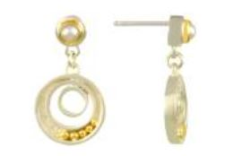 Earrings - Lady's Two-Tone Sterling Silver and 22 Karat Yellow Gold Vermeil Earrings with Two Freshwater Pearls Local Tahoe Designer from Homewood!