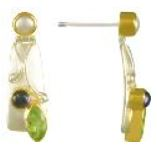 Earrings - Lady's Two Tone Sterling Silver and 22 Karat Yellow Gold Vermeil Earrings with 2= Marquise Peridots and 2= Round Iolites Local Tahoe Designer from Homewood!