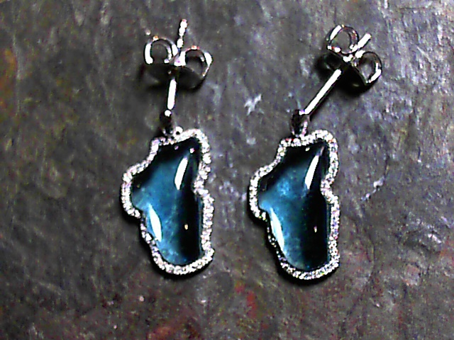 Earrings - 14 Karat White Gold Earrings with Two Lake Tahoe Shaped 5.16 Carats Total Weight Light Blue Hydro Permanently Treated Gemstone & 102 Round Diamonds Surrounding Lake Tahoe at 0.20 Carats Total Weight of G/H Si Quality Diamonds. Bluestone Jewelry Exclusive Design.