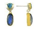 Earrings - Lady's Two-Tone Sterling Silver & 22 Karat Yellow Gold Vermeil Earrings With 2 Oval Rainbow Blue Moonstones and 2 Trillian Cut Blue Topaz. Local Tahoe Artist from Homewood!