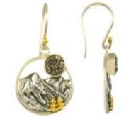 Earrings - Lady's Two Tone Sterling Silver and 22 Karat Yellow Gold Vermeil with 2= Round Druzys Local Tahoe Designer from Homewood!