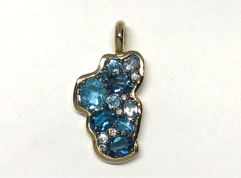 Pendant - Bluestone Jewelry Design 14 Karat Yellow Gold Lake Tahoe Pendant with London Blue Topaz, Sky Blue Topaz, Swiss Blue Topaz at a total weight of 1.31 Carats & 5 Round Diamonds at 0.03 Carats Total Weight of G/H SI1 Quality Diamonds. Bluestone Jewelry Design