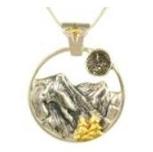 Pendant - Lady's Two Tone Sterling Silver and 22 Karat Yellow Gold Vermeil Pendant with 1= Round Druzy on an 18 inch Sterling Silver Box Chain Local Tahoe Designer from Homewood!
