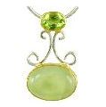 Pendant - Sterling Silver and 22 Karat Yellow Gold Vermeil Pendant with Prehnite and Peridot on Silver Box Chain 18 inches Local Tahoe Artist from Homewood!