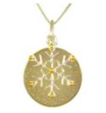 Pendant - Lady's Two Tone Sterling Silver and 22 Karat Yellow Gold Vermeil Pendant with 1= Round Aurora Druzy on an 18 inch Sterling Silver Box Chain Local Tahoe Designer from Homewood!