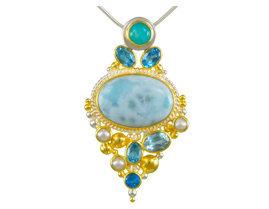 Pendant - Lady's Two-Tone Sterling Silver Vermeil Cluster Pendant Length 18 with one Cabochon Larimar 2= Round Teal Topazs2= Round Baby Blue Blue Topazs one Round Amezonite 3= Fresh Water Pearls 2= Round Sky Blue Blue Topazs  Local Tahoe Artist from Homewood!