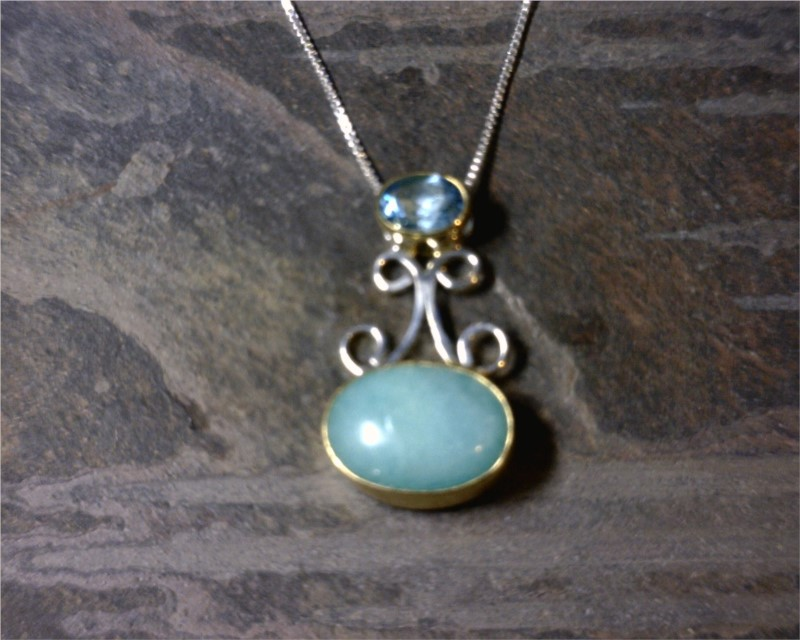 Pendant - Lady's Two-Tone Sterling Silver & 22 Karat Yellow Gold Vermeil Pendant with an Oval Amezonite & an Oval Blue Topaz on a 18 inch Silver Box Chain. Local Tahoe Designer from Homewood!