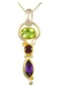 Pendant - Lady's Two Tone Sterling Silver and 22 Karat Yellow Gold Vermeil Pendant with 1= Oval Peridot, 1= Round Rhodolite Garnet and 1= Marquise African Amethyst on a 18 inch Sterling Silver Box Chain Local Tahoe Designer from Homewood!