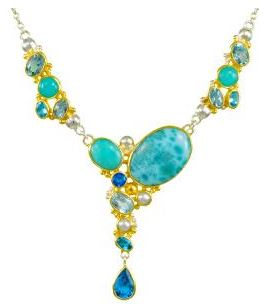 Pendant - Two-Tone Sterling Silver & 22 Karat Yellow Gold Vermeil Necklace with 2 Oval Blue Topaz, 5 Oval Cut Sky Blue Topaz, 3 Various Shapes Teal Topaz, 3 Various Shapes Amezonites & a Cabochon Cut Larimar 18 inches in length Made by Tahoe Local Designer!