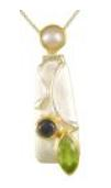 Pendant - Lady's Two Tone Sterling Silver and 22 Karat Yellow Gold Vermeil Pendant with 1= Marquise Peridot and 1= Round Iolite on an 18 inch Sterling Silver Box Chain Local Tahoe Designer from Homewood!
