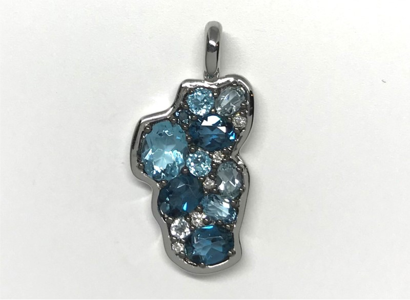Pendant - Bluestone Jewelry Design 14 Karat White Gold Lake Tahoe Pendant with London Blue Topaz, Sky Blue Topaz, Swiss Blue Topaz at a combine total weight of 1.24 Carats & 5 Round Diamonds at 0.03 Carats Total Weight of G/H SI1 Quality Diamonds Bluestone Jewelry Design