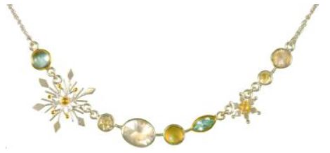 Necklace - Lady's Two Tone Sterling Silver and 22 Karat Yellow Gold Vermeil Necklace Length 16