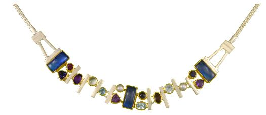 Necklace - Lady's Two-Tone Sterling Silver & 22 Karat Yellow Gold Vermeil Necklace Length 18, 3= Retangular Cushion Cut Moonstones, 3= Various Shapes African Amethysts, 2= Various Shapes Rhodolite Garnets, 4= Various Shapes Blue Topazs, 2= Fresh Water Pearls, 2=Various Shapes Iolites Local Tahoe Artist from Homewood!