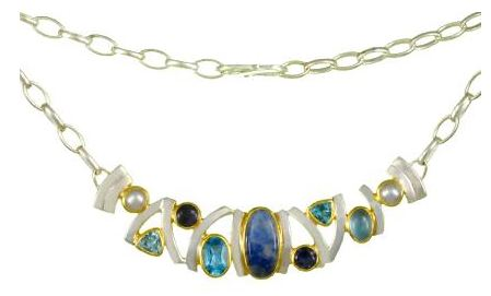 Necklace - Lady's Two-Tone Sterling Silver & 22 Karat Yellow Gold Vermeil Necklace Length 18 with one Oval Moonstone, 3 Blue Topaz,  2 Round Iolites, one Oval Agate,  and 2 Fresh Water Pearls. Local Tahoe Designer from Homewood!