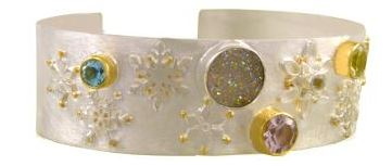 Bracelet - Sterling Silver and 22 Karat Yellow Gold Vermeil Bracelet with Aurora Druzy, Amethyst, Blue Topaz, White Topaz, and Green Amethyst Local Tahoe Artist from Homewood!