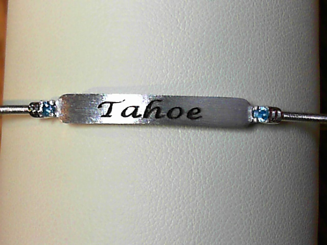 Bracelet - Rhodium Finish Sterling Silver Cable Cuff Tahoe Bracelet with 2 Round Simulated Zircon