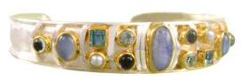Bracelet - Lady's Two-Tone Sterling Silver and 22 Karat Yellow Gold Vermeil Cuff Bracelet with Blue Rainbow Moonstone, Sky Blue Topaz, Baby Blue Topaz, White Freshwater Pearl, Blue Agate and Iolite  Local Tahoe Designer from Homewood!