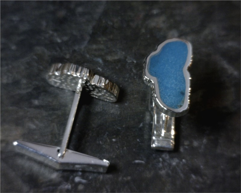 Jewelry - Sterling Silver & Stainless Steel Cuff Links with 2 Lake Tahoe Turquoise Gemstones. Measures approximately 5/8 of an inch tall and 5/16 of an inch wide.