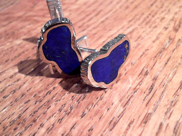 Jewelry - Sterling Silver & Stainless Steel Cuff Links with 2 Lake Tahoe Lapis Gemstones. Measures approximately 7/8 of an inch tall and 3/8 of an inch wide.