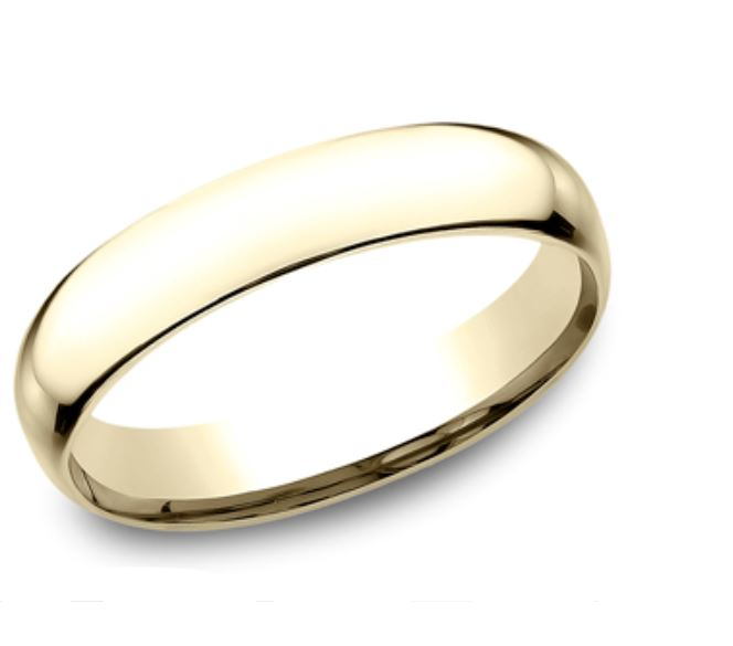 Wedding Band - 4mm comfort fit 14 Karat Yellow Gold Light Weight Wedding Band. Ring Size 9.5 Available in White Gold & Platinum. Prices will vary.