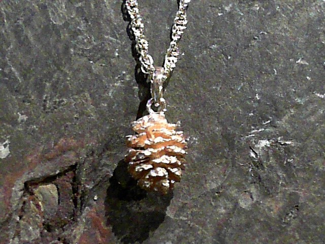 Charms - 14 Karat Yellow Gold Alder Pine Cone Pendant. Pine cone weight 3.0 grams All are slightly different from one another.   We find these Alder Pine Cones along the Truckee River and around Tahoe Streams.