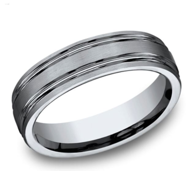 Wedding Band - Titanium Comfort fit 6mm Band with satin finished & two parallel high polished center trim grooves. Ring Size 9 Available in Tungsten, Gold, Platinum & Ceramic. Prices will vary.