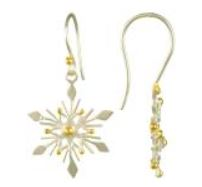 Earrings - Lady's Two Tone Sterling Silver and 22 Karat Yellow Gold Vermeil Snowflake Earrings Local Tahoe Designer from Homewood!