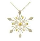 Charm - Two Tone Sterling Silver and 22 Karat Yellow Gold Snowflake Pendant on an 18 inch Sterling Silver Box Chain Local Tahoe Designer from Homewood!