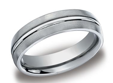 Wedding Band - 6mm Titanium Satin Brushed Finish & a high polished center trim Wedding Band.  Ring Size 8.5 Available in Tungsten, Gold, Platinum, Cobalt & Ceramic. Prices will vary.