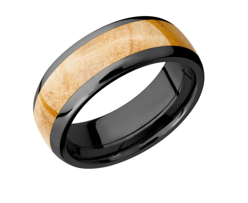 Wedding Band - 8mm Black Zirconium with a 5mm Boxelder Burl Wood Inlay Band. Ring Size 10.5
