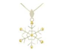 Charm - Lady's Two Tone Sterling Silver and 22 Karat Yellow Gold Vermeil Snowflake Pendant on an 18 inch Sterling Silver Box Chain  Local Tahoe Designer from Homewood!