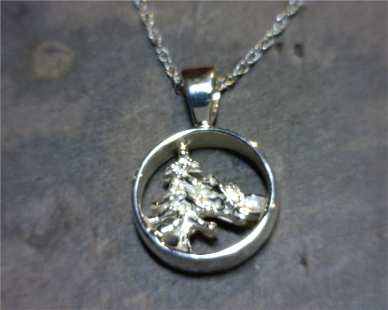 Charm - Sterling Silver Tahoe Mountain Scene Pendant.  Comes on 18 inch Base Metal Alloy Display Chain(Highly recommended to switch onto a different chain for wearing)