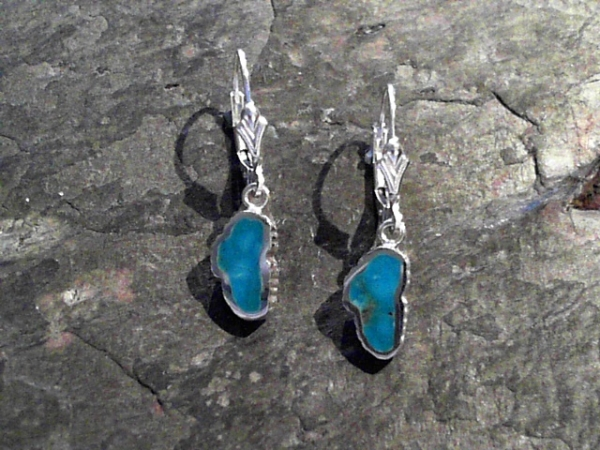 Small Turquoise Lake Tahoe Lever Back Earrings - Small Sterling Silver Lever Back Earrings with Lake Tahoe Shaped Turquoise