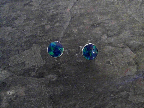 6mm Round Opal Stud Earrings - Sterling Silver Stud Earrings Bezel Set with Two 6mm Round Lab-Grown Opals.