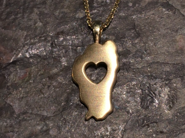 Large Falling in Love with Tahoe Pendant - 14 Karat Yellow Gold Large Falling in Love with Tahoe Pendant. Satin finish. Bluestone Jewelry Exclusive Design. Measures 1 1/8th of an inch tall. Chain sold separately. Comes on base metal display chain.