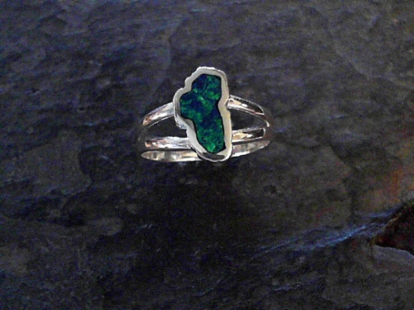 Small Opal Lake Tahoe Ring - Small Sterling Silver Fashion Ring with One Lake Tahoe Shaped Lab-Grown Opal Ring Size that are currently in stock are 6, 6.25, 6.5, 6.75, 7, 7.25, 7.5, 8 & 9. Can be special ordered or re-sized per request. Please contact for details. All stones will vary in color tone & pattern.