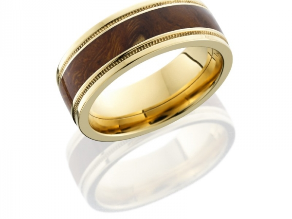 14K Yellow Gold 8mm Flat Band with Grooved Edges, Milgrain, and 4mm Desert Ironwood inlay