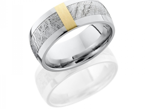 Cobalt Chrome 9mm Domed Band with 5mm Meteorite inlay and 3mm 14K Yellow Gold Vertical inlay