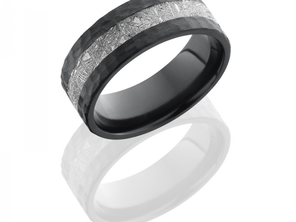 Zirconium 8mm Flat Band with 3mm Meteorite inlay